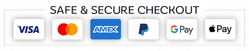 Credit Card, PayPal, Google Pay and Apple Pay Accepted
